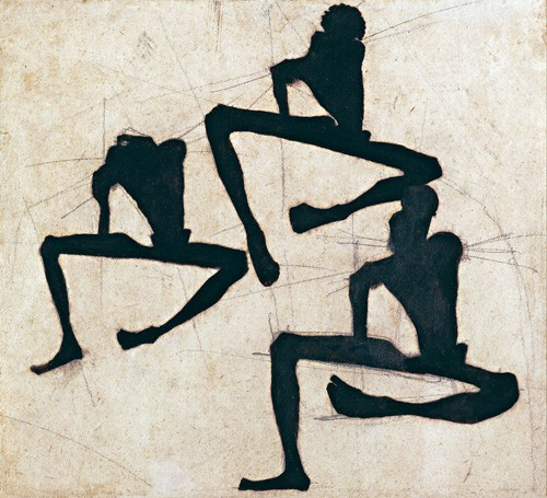 abstracts paintings - Abstracto _ Composition with Three Male Nudes, 1910 - Schiele, Egon