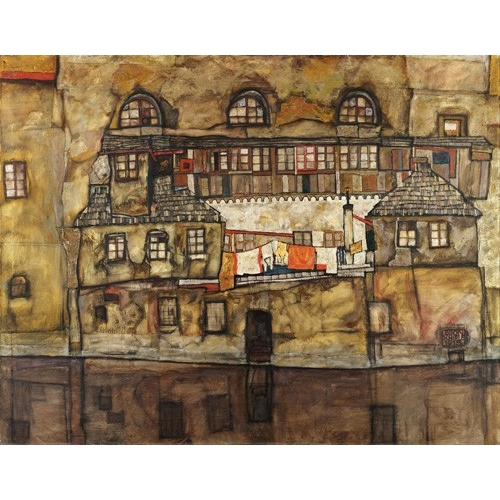 Comprar  - House Wall on the River, 1915 online - Schiele, Egon