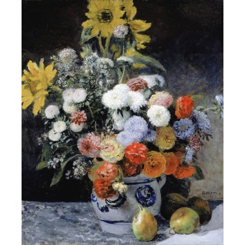 Comprar flowers - Mixed Flowers in an Earthenware Pot, 1869 online - Renoir, Pierre Auguste