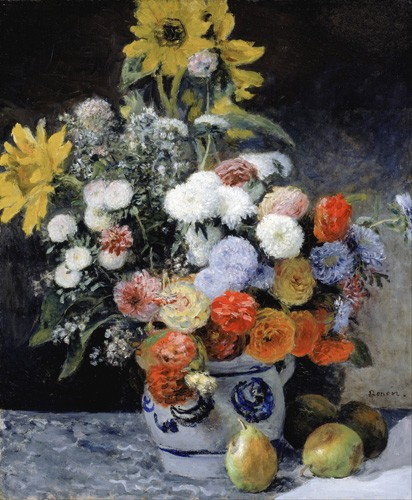 flowers - Mixed Flowers in an Earthenware Pot, 1869 - Renoir, Pierre Auguste