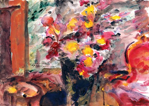 decorative paintings - Flower Vase on a Table - Corinth, Lovis