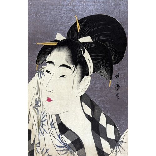Comprar ethnic and oriental paintings - Ase o fuku onna online - Utamaro, Kitagawa