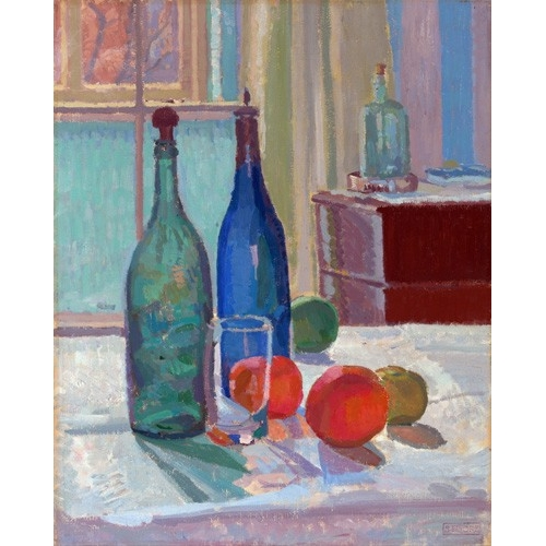 Comprar cuadros de bodegones - Cuadro Blue and Green Bottles and Oranges, 1914 online - Gore, Spencer