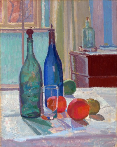 cuadros de bodegones - Cuadro Blue and Green Bottles and Oranges, 1914 - Gore, Spencer