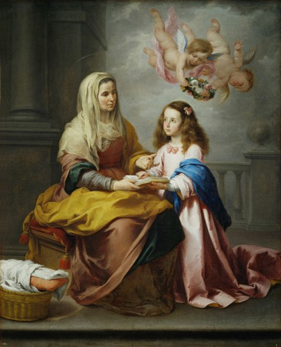 religious paintings - Santa Ana y la Virgen, 1655 - Murillo, Bartolome Esteban