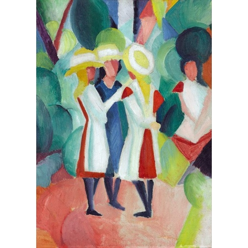Comprar for children - Three girls in yellow straw hats, 1913 online - Macke, August
