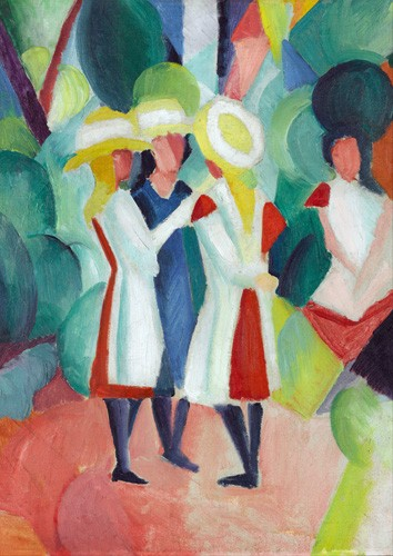 cuadros de retrato - Cuadro Three girls in yellow straw hats, 1913 - Macke, August