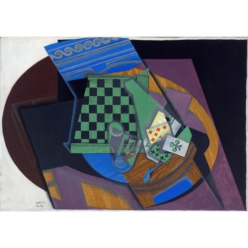 Comprar abstracts paintings - Damier et cartes à jouer, 1919 online - Gris, Juan