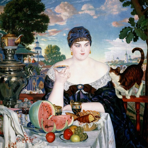 cuadros de bodegones - Cuadro Merchant's Wife at Tea - Kustodiev, Boris