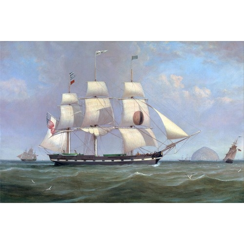 Comprar cuadros de marinas - Cuadro The Black Ball Line Packet Ship 'New York' off Ailsa Craig, 183 online - Clark, William
