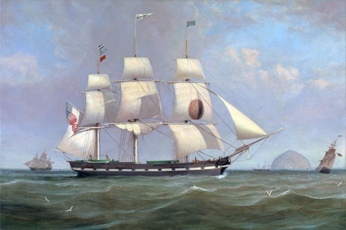 cuadros de marinas - Cuadro The Black Ball Line Packet Ship 'New York' off Ailsa Craig, 183 - Clark, William