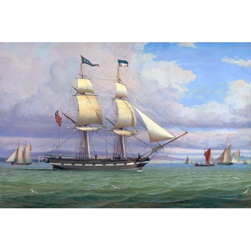 Comprar seascapes - The English Brig 'Norval' before the Wind, 1833 online - Clark, William