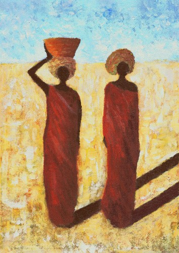 ethnic and oriental paintings - African Girls, 2001 - Wilson, Tom