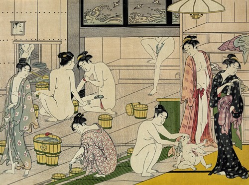 ethnic and oriental paintings - Bathhouse women - Kiyonaga, Torii