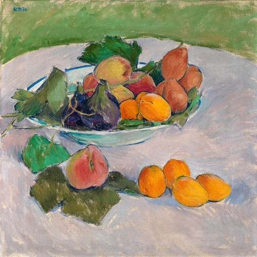 Still life with fruits and leaves