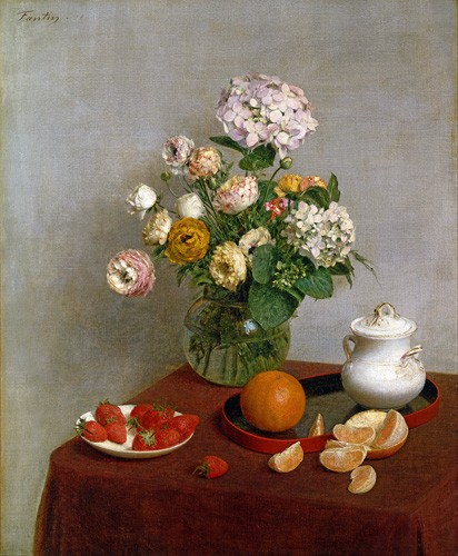 Still life paintings - Flowers_and_Fruit, 1866 - Fantin Latour, Henri