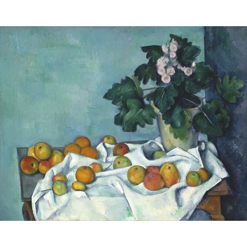 Comprar  - Cuadro Still Life with Apples and a Pot of Primroses, 1890 online - Cezanne, Paul