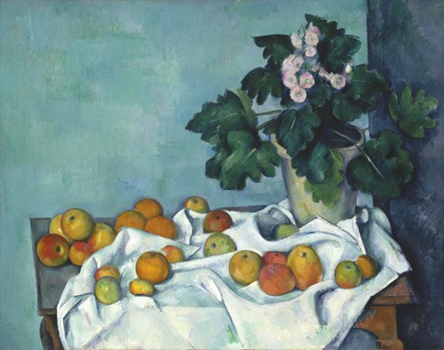cuadros de bodegones - Cuadro Still Life with Apples and a Pot of Primroses, 1890 - Cezanne, Paul