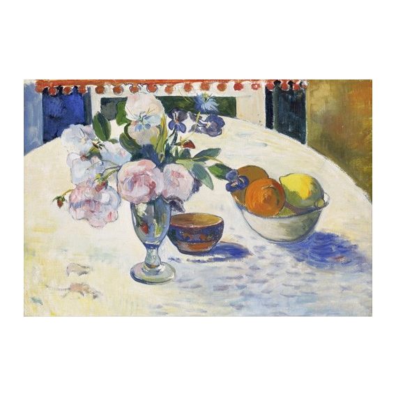 """Flowers and a Bowl of Fruit on a Table, 1894"""