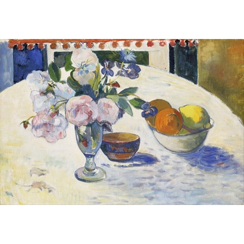 Cuadro Flowers and a Bowl of Fruit on a Table, 1894