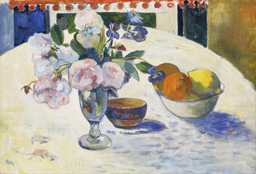 cuadros de bodegones - Cuadro Flowers and a Bowl of Fruit on a Table, 1894 - Gauguin, Paul