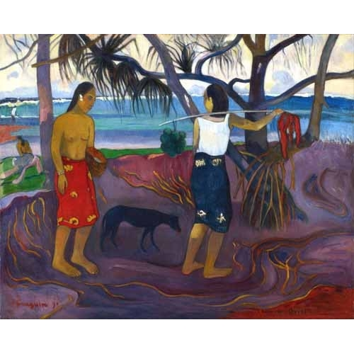 Comprar landscapes - I Raro Te Oviri (Under the Pandanus) online - Gauguin, Paul