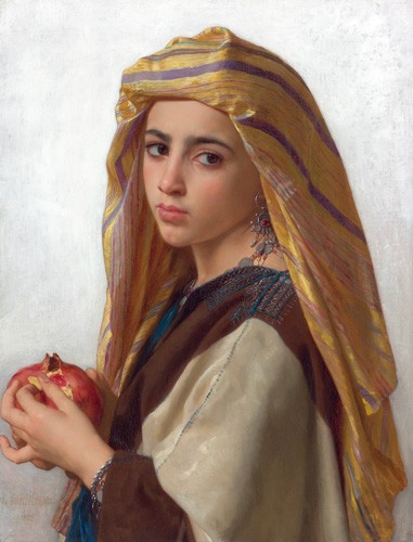 cuadros de retrato - Cuadro Girl with a pomegranate - Bouguereau, William