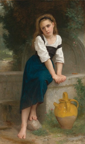 cuadros de retrato - Cuadro Orphan by the Fountain, 1883 - Bouguereau, William