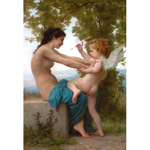 Comprar nude paintings - A Young Girl Defending Herself against Eros, 1880 online - Bouguereau, William