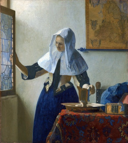 cuadros de retrato - Cuadro Young Woman with a Water Pitcher, 1662 - Vermeer, Johannes