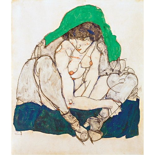 Comprar nude paintings - Crouching Woman with Green Headscarf, 1914 online - Schiele, Egon
