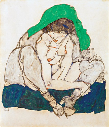 portrait and figure - Crouching Woman with Green Headscarf, 1914 - Schiele, Egon
