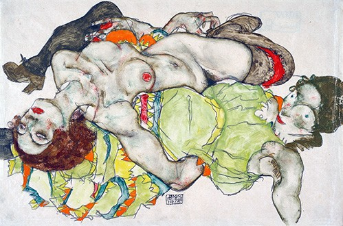 portrait and figure - Female Lovers, 1915 - Schiele, Egon