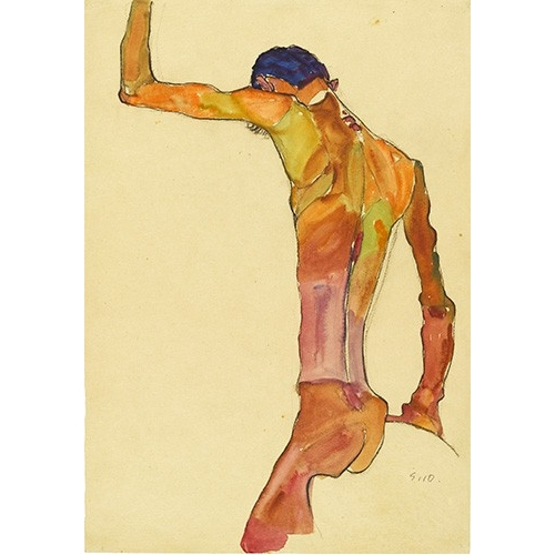 Cuadro Standing Male Nude with Arm Raised Black View, 1910