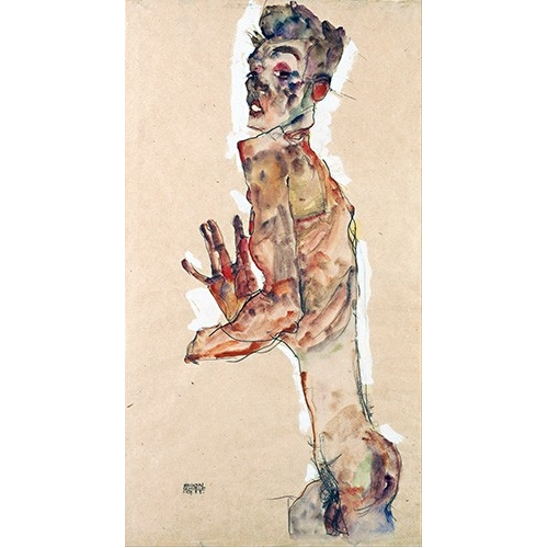 Comprar cuadros de desnudos - Cuadro Self-Portrait with Splayed Fingers online - Schiele, Egon