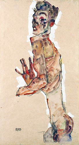 portrait and figure - Self-Portrait with Splayed Fingers - Schiele, Egon