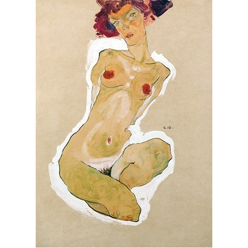 Comprar nude paintings - Squatting Female Nude online - Schiele, Egon