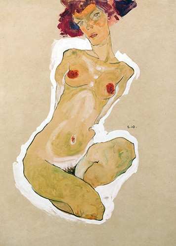 portrait and figure - Squatting Female Nude - Schiele, Egon