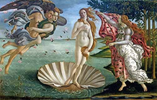 portrait and figure - El nacimiento de Venus - Botticelli, Alessandro