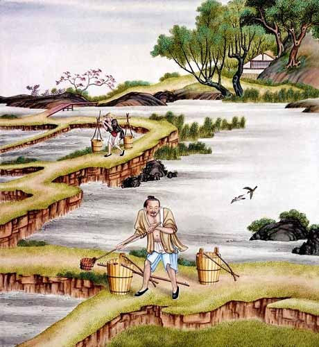 ethnic and oriental paintings - Campesinos transportando agua - _Anónimo Chino