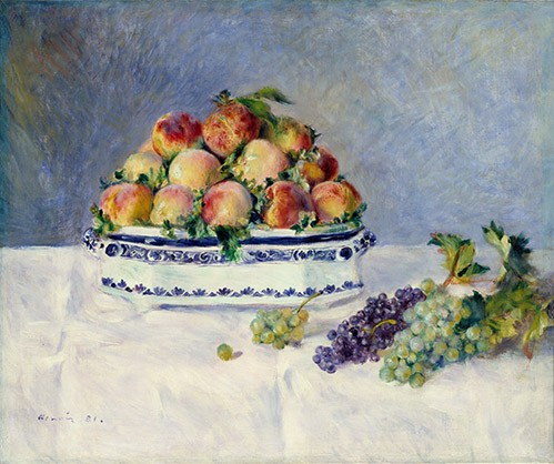 cuadros de bodegones - Cuadro Still Life with Peaches and Grapes, 1881 - Renoir, Pierre Auguste