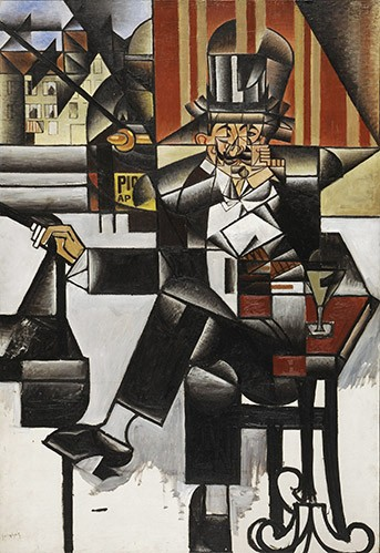 abstracts paintings - Man in a cafe - Gris, Juan