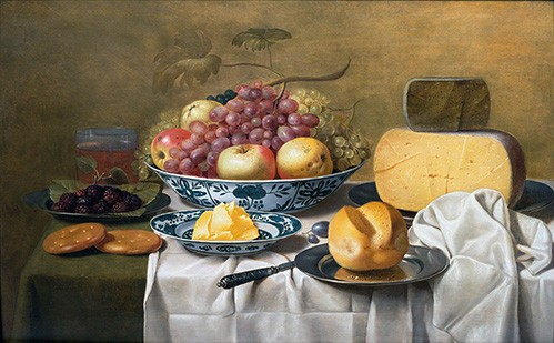 Still life paintings - Still Life of Fruit and Cheese - Schooten, Floris Gerritz Van