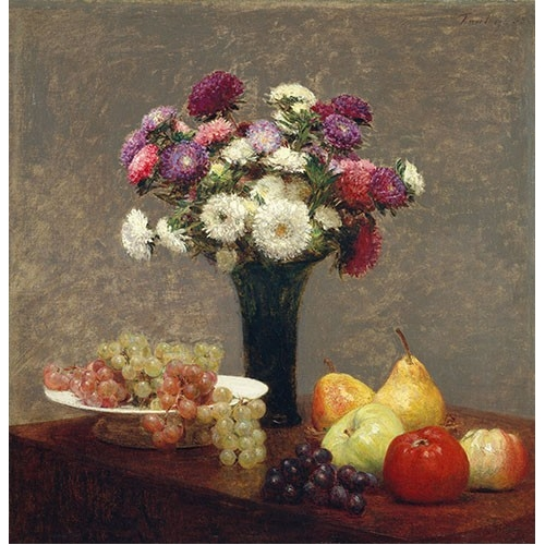 Comprar cuadros de bodegones - Cuadro Asters and Fruit on a Table online - Fantin Latour, Henri