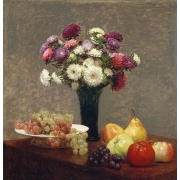 "Cuadro ""Asters and Fruit on a Table"""