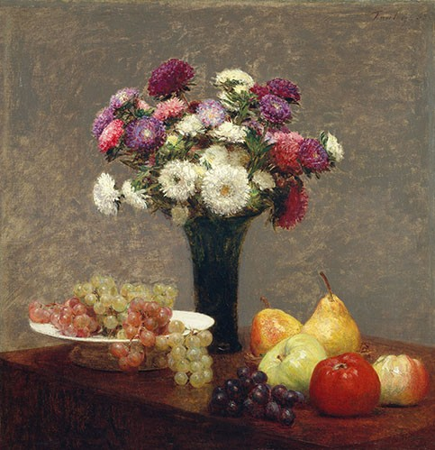 Still life paintings - Asters and Fruit on a Table - Fantin Latour, Henri