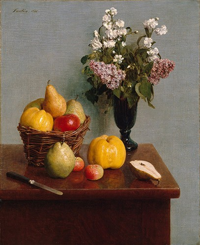 cuadros de bodegones - Cuadro Still Life with Flowers and Fruit - Fantin Latour, Henri