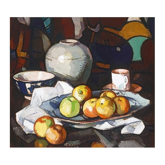 """Still life apples and jar"""