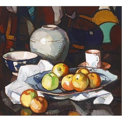 Cuadro Still life apples and jar