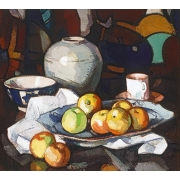 "Cuadro ""Still life apples and jar"""